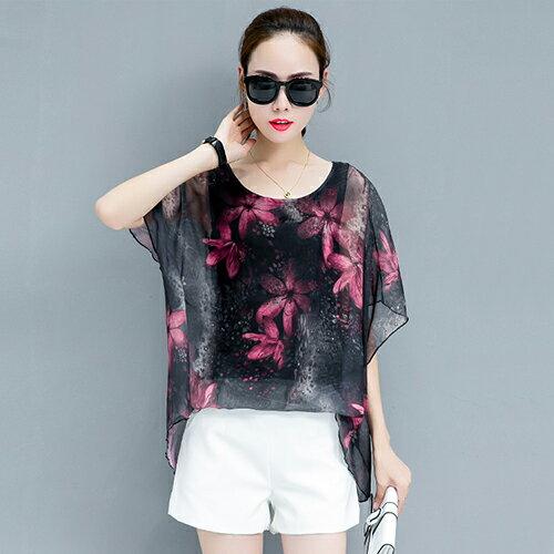 韓版寬鬆顯瘦超仙短袖雪紡衫(4色S~3XL)*ORead*