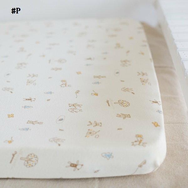 嬰兒【精梳棉】床包。嬰兒床單。嬰兒床罩-P熊熊兔兔好朋友
