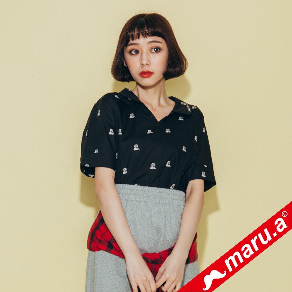 【maru.a】領子刺繡滿版印花襯衫(2色)8323118 0