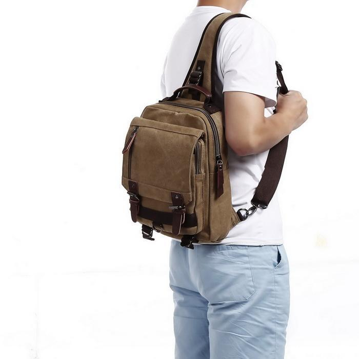 Canvas Unisex Travel Sports Sling Large Outdoor Backpack 5