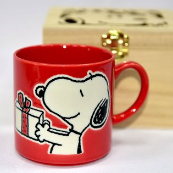 SNOOPY史努比陶瓷馬克杯鏤空花紋木盒正版日本製