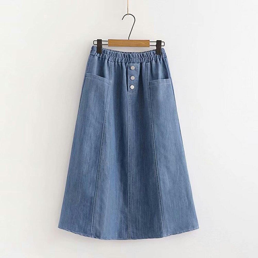 純色做舊高腰三粒扣拼接牛仔半身裙(藍色F碼)*ORead* - 限時優惠好康折扣