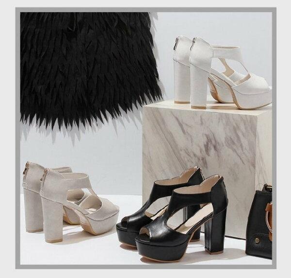 Pyf♥新款韓版超穩高跟防水台涼鞋簍空粗跟松糕厚底拉鍊魚口高跟42大尺碼女鞋
