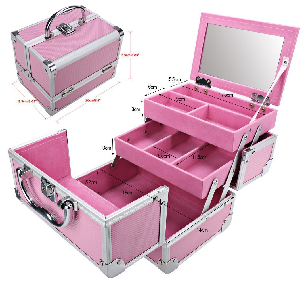 Mini Portable Aluminum Cosmetic Box + Mirror + 2 Keys 4