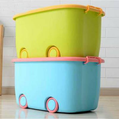 【有蓋帶輪兒童收納箱2只裝-大號-58*39*31cm-1套/組】加厚玩具整理箱卡通儲物箱-7201001