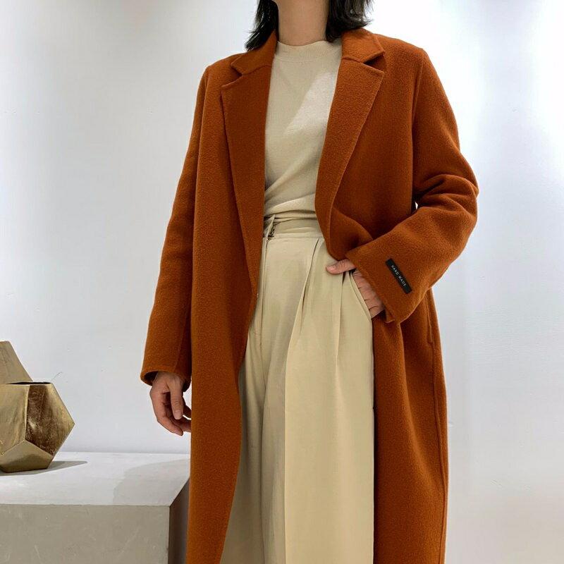 毛呢大衣羊毛外套-長版翻領簡約寬鬆女外套2色73wb21【獨家進口】【米蘭精品】 1