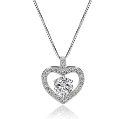 ~925純銀項鍊 鍍白金鑲鑽吊墜~甜蜜心中的愛 情人母親節 女飾品73ct114~ ~~米