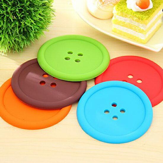 ?MY COLOR?糖果色圓形鈕扣杯墊 水杯 居家 廚房 餐具 碗盤 隔熱 防滑 矽膠 防燙【X29】