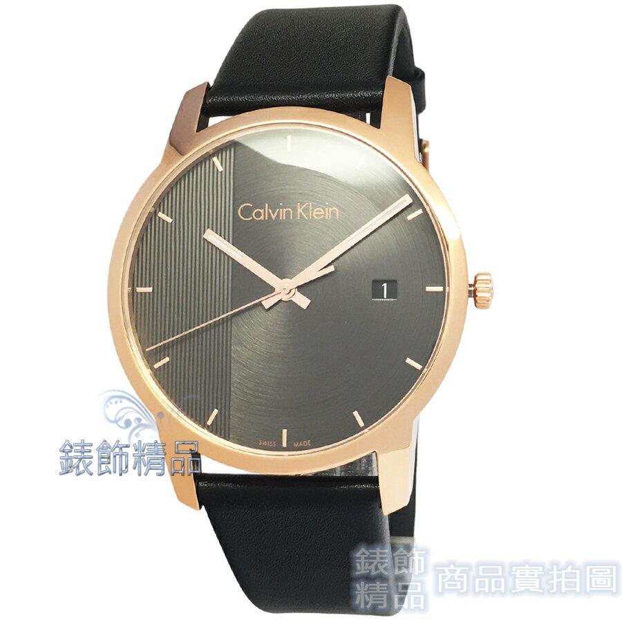 【錶飾精品】CK手錶 K2G2G6C3 凱文克萊 都會時尚 經典簡約線條 鐵灰面玫金框日期黑皮帶男錶