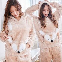 泰迪熊毛毛 小狐狸睡衣+睡褲-兩件式(兩色:灰、棕)-保暖、居家服_蜜桃洋房