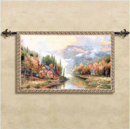Autumn Cottage Wall Hanging Tapestry (tassels and rod not included)