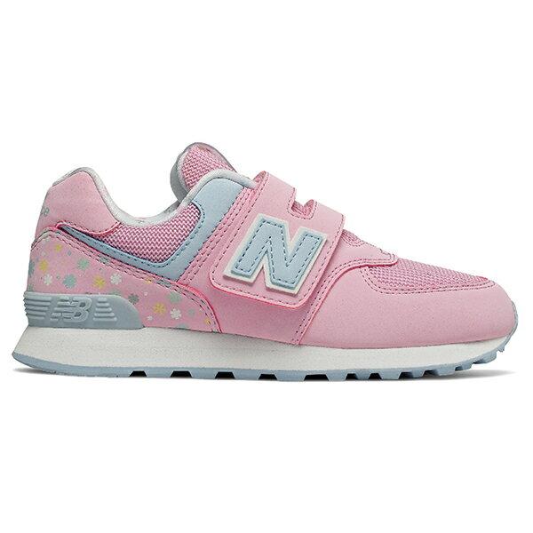Shoestw【YV574KCR】NEW BALANCE NB574 運動鞋 黏帶 中童鞋 Wide 粉水藍 小花 0