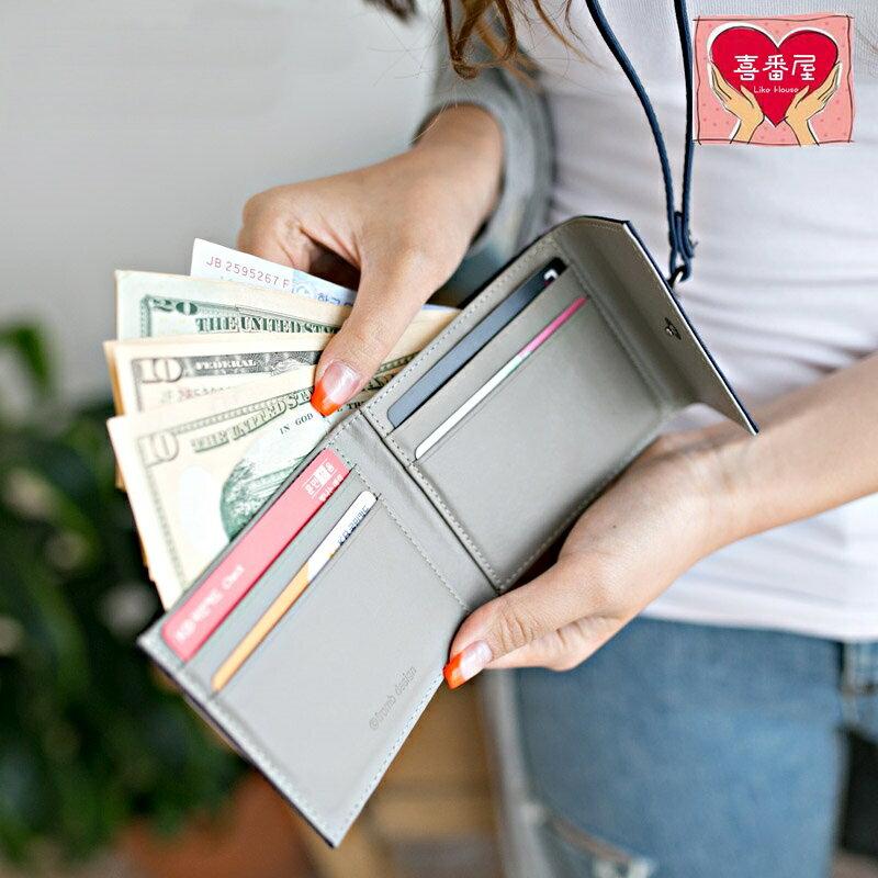 【喜番屋】日韓版真皮牛皮可掛脖便攜皮夾皮包錢夾零錢包卡片包卡片夾卡包卡夾卡套證件套證件夾女夾女包精品禮物LH253