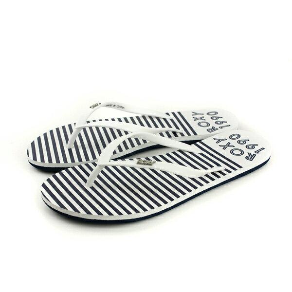 ROXY夾腳拖鞋人字拖深藍白條紋女鞋ARJL100683-WHTno044