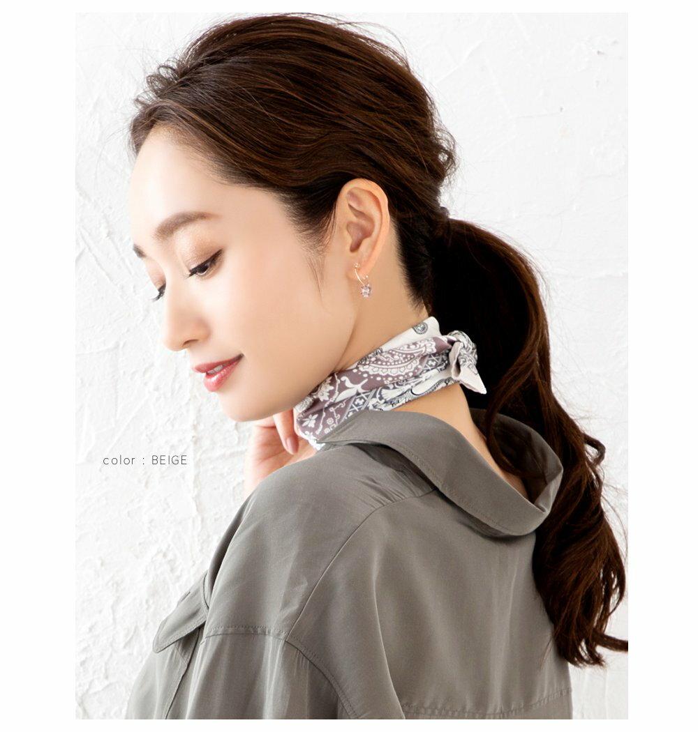 日本CREAM DOT  /  スカーフ バッグ リボン 正方形 小物 ストール 大人 上品 エレガント フェミニン バイカラー ネイビー ベージュ ブラウン カーキ  /  a03514  /  日本必買 日本樂天直送(1690) 6