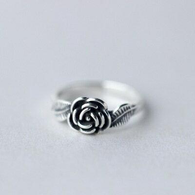 925純銀戒指開口戒~復古典雅玫瑰花 生日情人節 女飾品73dt357~ ~~米蘭 ~
