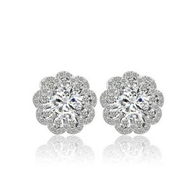 ~純銀耳環鍍白金鑲鑽耳飾~ 簡約花朵情人節生日 女飾品73cr376~ ~~米蘭 ~