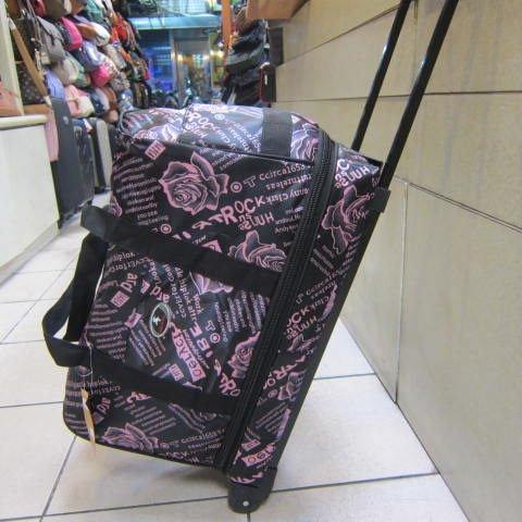 ~雪黛屋~Joekey 拉桿側拖型可加大旅行袋 輕量防水尼龍布鋁合金多段式拉桿 JK606 黑-粉紅玫瑰