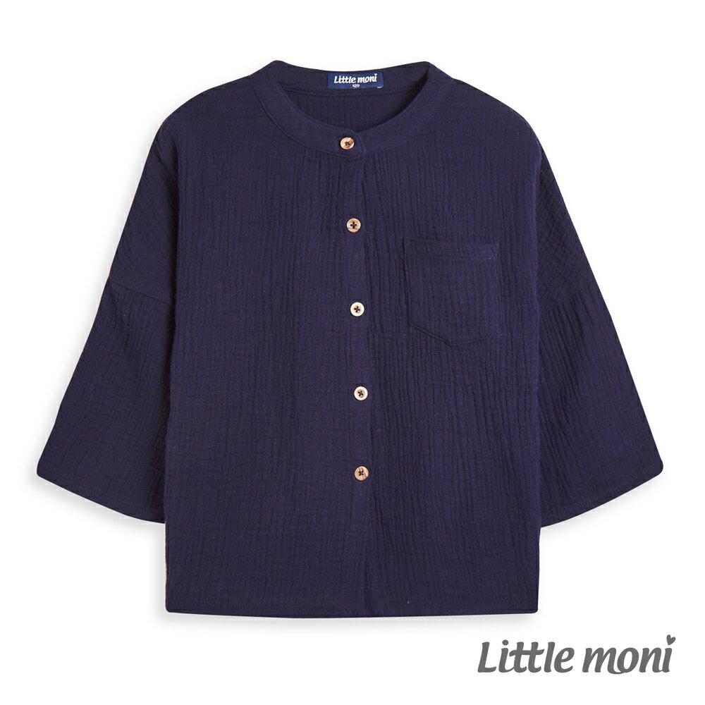 Little moni 百搭圓領素色純棉襯衫-深藍(好窩生活節) - 限時優惠好康折扣