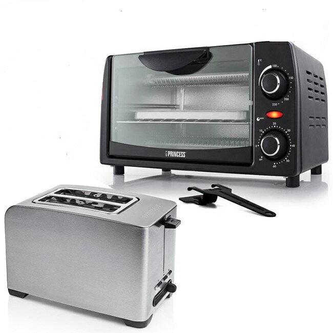 【超值組合】Princess 荷蘭公主不鏽鋼多功能厚片烤麵包機+9L時尚小烤箱 142356+112363