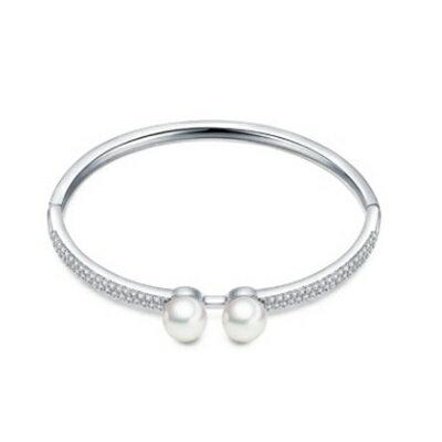 純銀手環 鍍白金鑲鑽手鍊 ~ 簡約百搭有型七夕情人節 女飾品73cv60~ ~~米蘭 ~