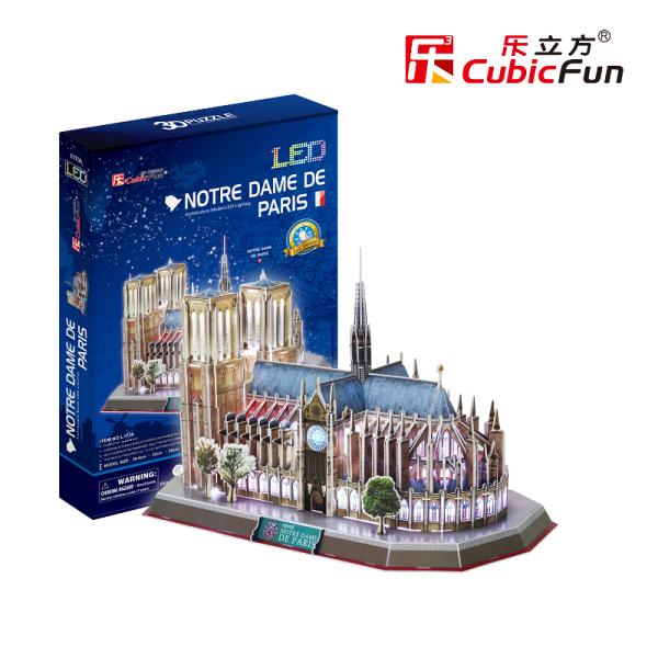 文五雙全x文具五金生活館:3DPuzzleLED燈飾立體拼圖-世界建築【法國巴黎聖母院】L173h玩家級149片現貨