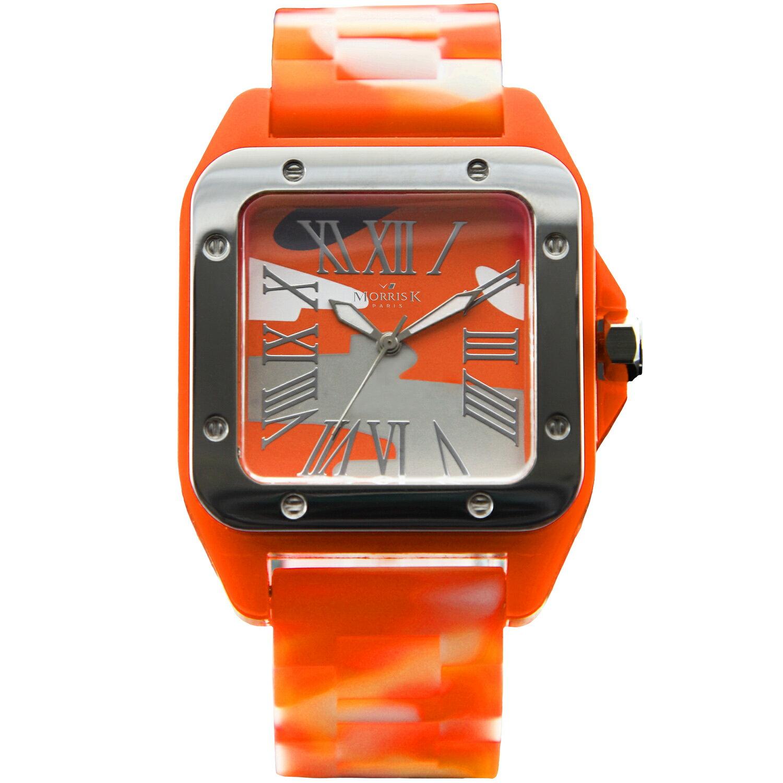 【Morris K】羅志祥代言 舞極限方型休閒潮流腕錶 迷彩 38mm-MK13015-GY07