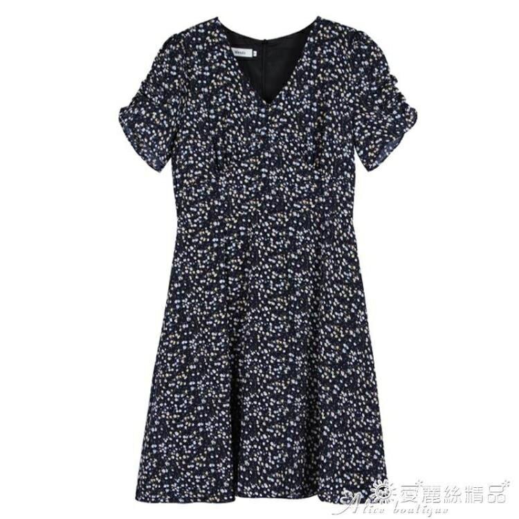 雪紡洋裝 碎花雪紡紫色連身裙大碼女夏裝2020新款微胖mm女生穿搭氣質女神范