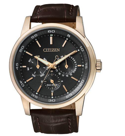 清水鐘錶 CITIZEN 星辰 Eco-Drive 光動能日曆手錶 玫瑰金x褐 BU2013-08E 44mm