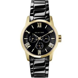 Relax Time RT-65-3L 對錶系列黑金時尚腕錶/黑面(小)38mm