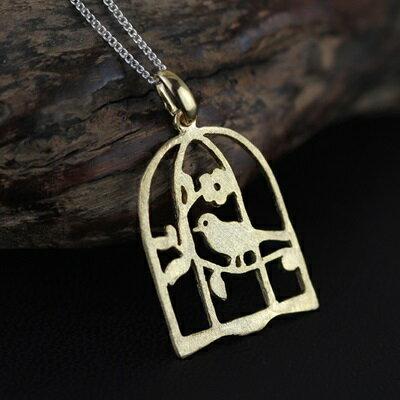 925純銀項鍊吊墜~鏤空鳥籠 自然風生日情人節 女飾品73gm44~ ~~米蘭 ~