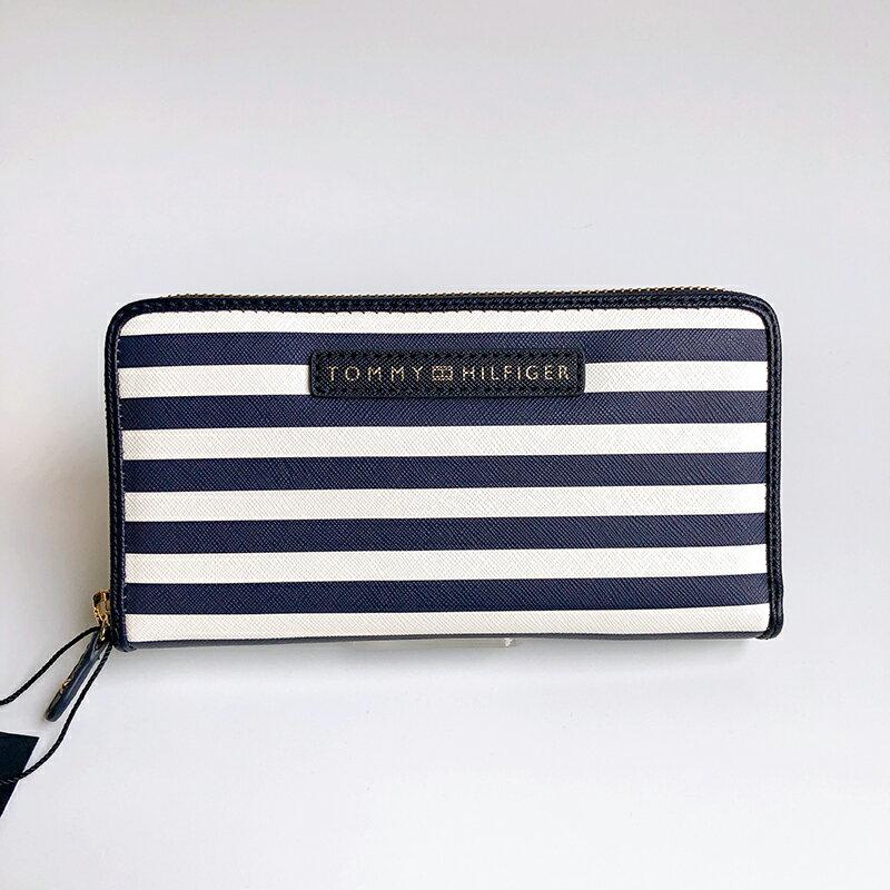 美國百分百【全新真品】Tommy Hilfiger 皮夾 證件夾 TH 長夾 錢包 卡夾 票夾 女用 條紋深藍 AQ51