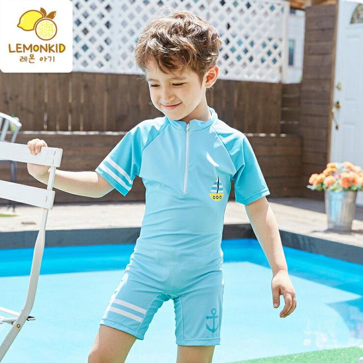 Lemonkid◆活力夏日海洋帆船速乾前拉鍊男女童連體式兒童游泳衣泳褲泳裝-天藍色
