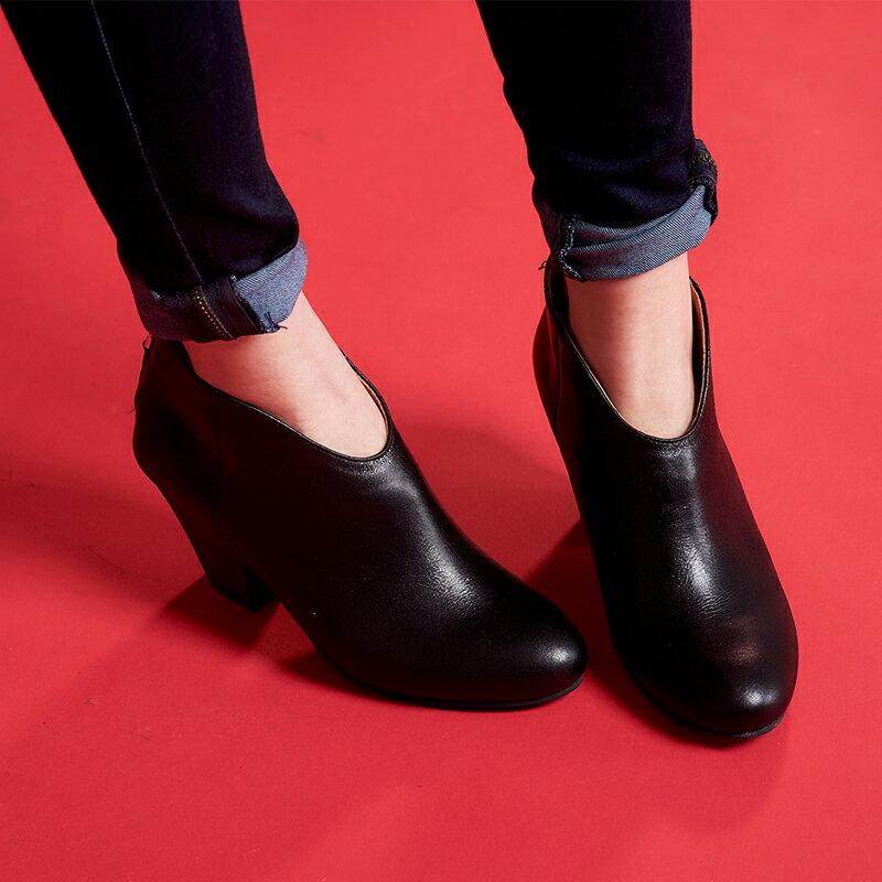 【B2-16103L】真皮後拉鍊粗跟短靴_Shoes Party 2