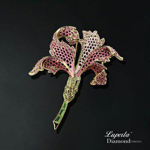 大東山珠寶璀璨花園系列手繪彩漆晶鑽胸針火百合花熱烈的愛