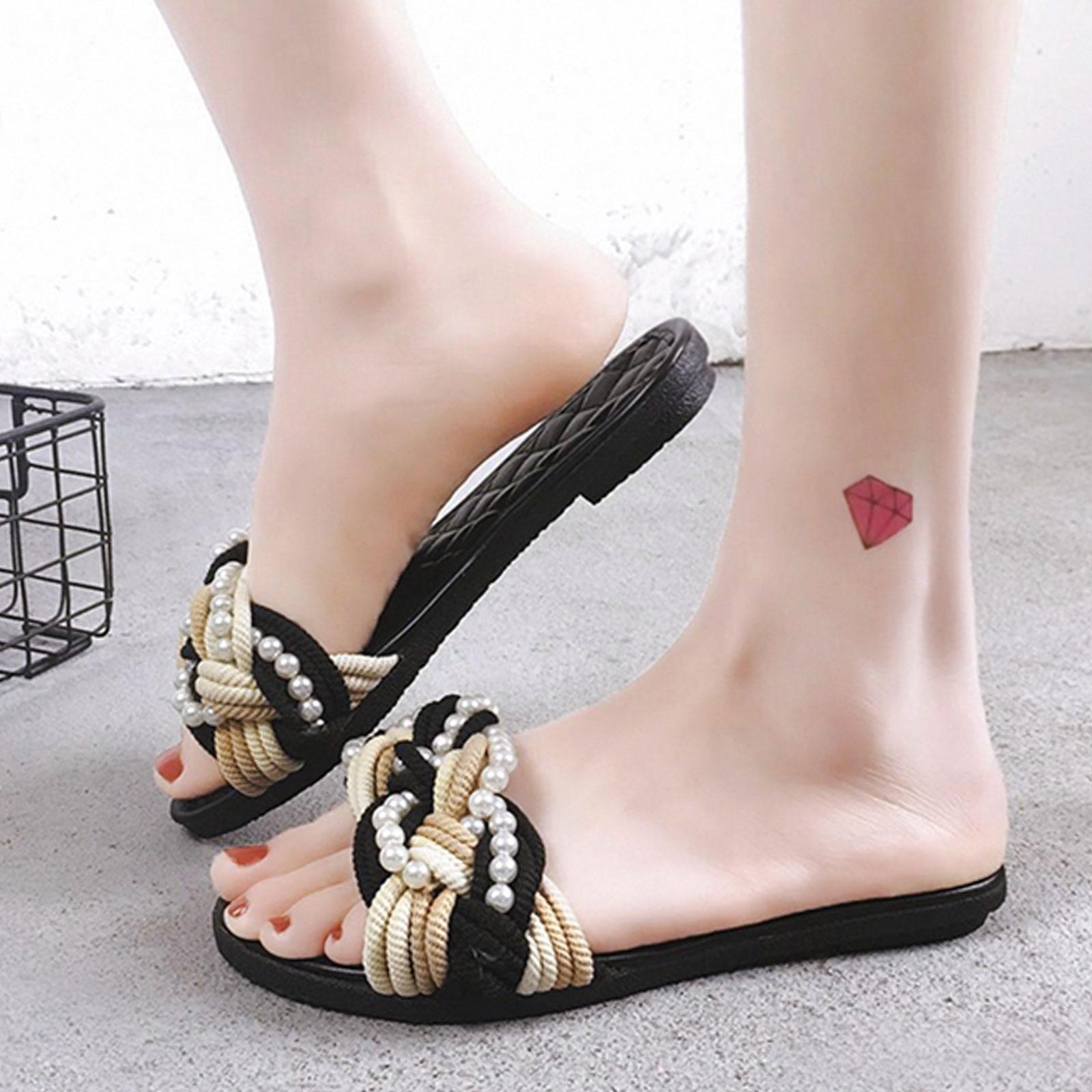 拖鞋 明星同款菱格珍珠平底沙灘拖鞋【S1679】☆雙兒網☆ 1