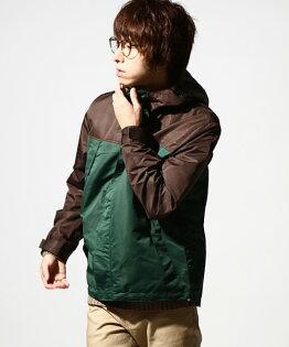 防潑水登山夾克棕色×綠色