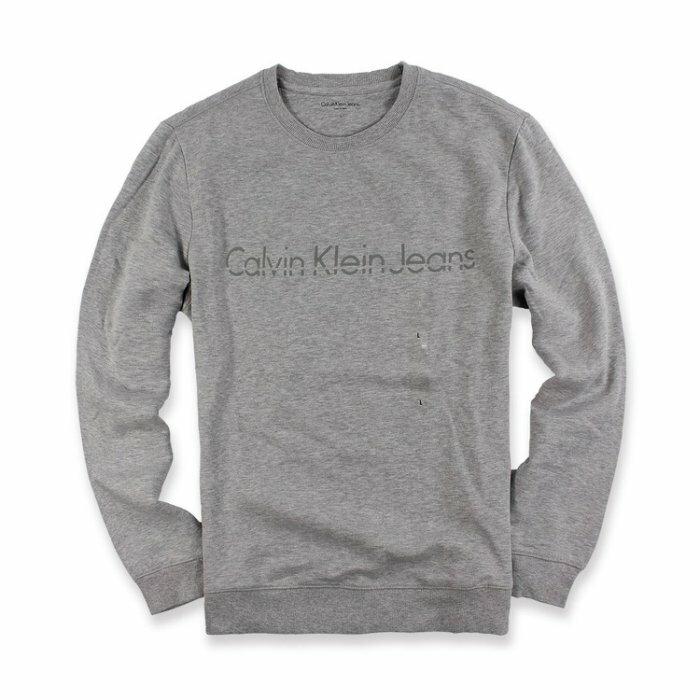 美國百分百【全新真品】Calvin Klein 大學T CK 上衣 長袖 T恤 T-shirt 灰色  I698