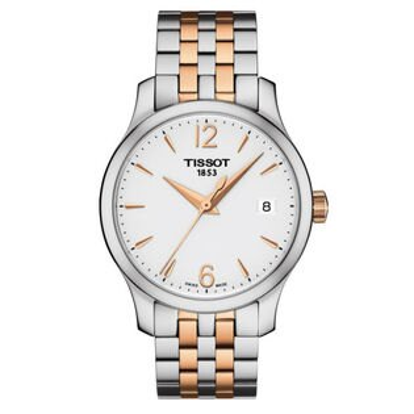 TISSOT天梭T0632102203701Tradition系列迷人經典時尚腕錶銀x玫瑰金33mm