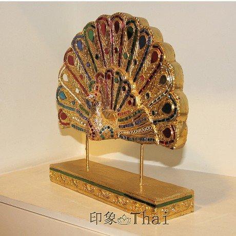 風格擺件裝飾品 孔雀開屏泰式擺件 工藝品金色擺件飾品