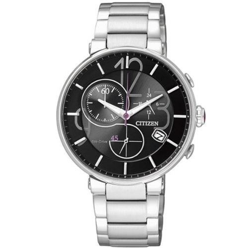 CITIZEN星辰FB1200-51E黑面光動能計時女錶/黑面34mm