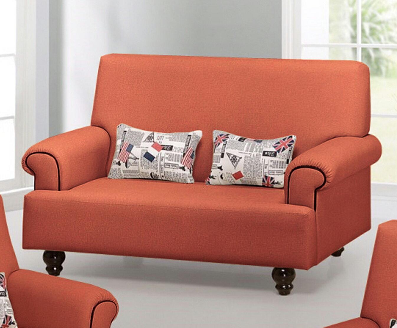 !新生活家具!《夏佐》橘色 雙人沙發 2人座沙發 二人座 法式沙發 實木腳 皮沙發 防貓抓皮 寵物 辦公沙發 套房出租 組椅 耐磨 台灣製造 工廠直營