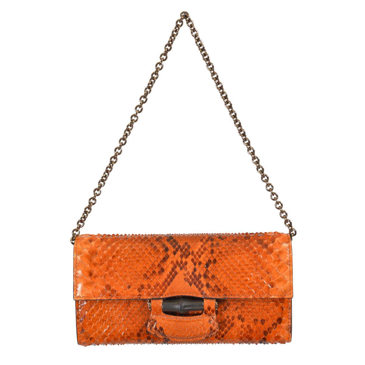 ae74f32a30f ONE MODA: Gucci Women's Orange Python Skin Clutch Handbag Shoulder ...