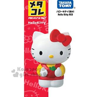 〔小禮堂〕Hello Kitty 手掌型超合金公仔《小.站姿.紅吊帶褲.抱蘋果》可動式設計.TakaraTomy