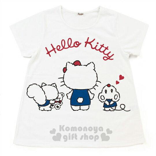 〔小禮堂〕Hello Kitty 短袖上衣《白.背影.朋友.小熊》材質柔軟舒適