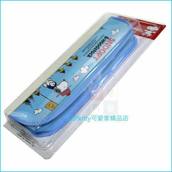 asdfkitty可愛家☆史努比大水藍色防水環保餐具袋/筆袋/收納袋-韓國正版商品