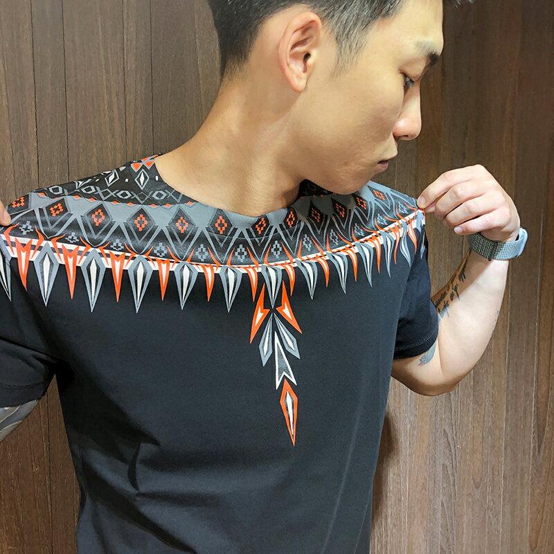 美國百分百【全新真品】Marcelo burlon MB 短袖T恤 短T T-shirt 印地安 圖騰 黑色 AL98