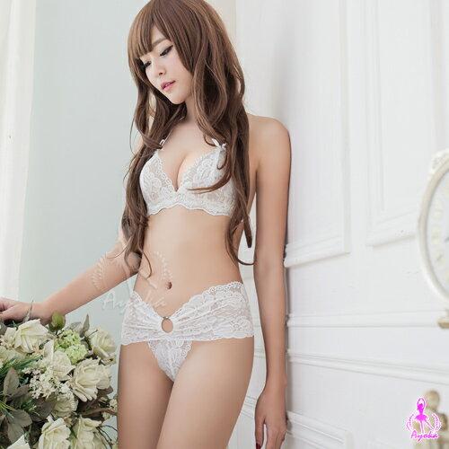 亞娜絲情趣用品情趣內衣柔白天使緹花蕾絲比基尼+丁字褲二件組