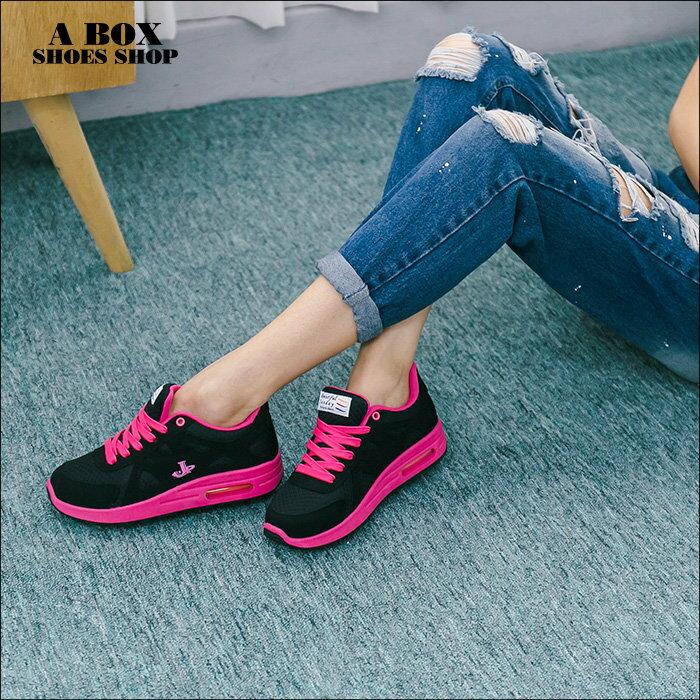 格子舖*【AJ1577】MIT台灣製 校園青春時尚撞色 舒適氣墊 綁帶休閒運動鞋 2色 1