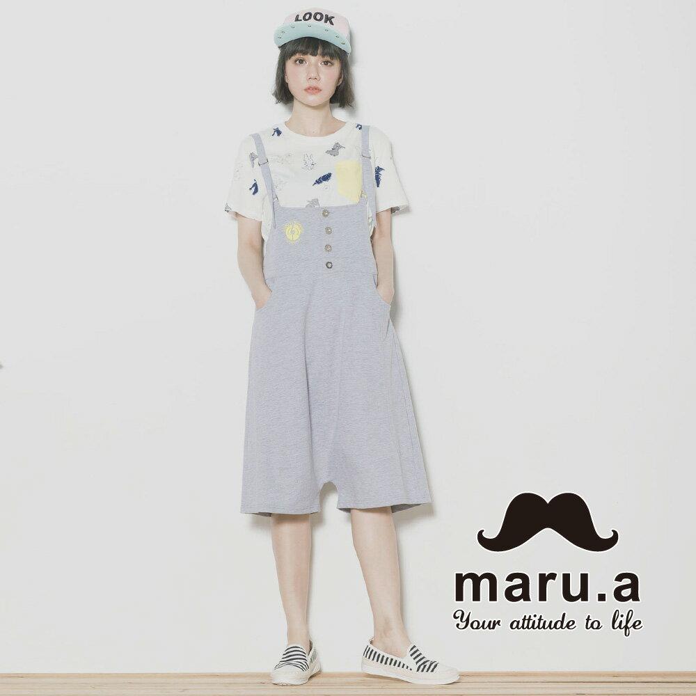 【maru.a】親子裝鶴刺繡低檔5分吊帶褲7315218 4